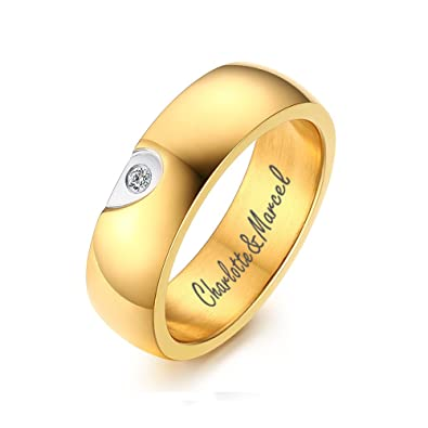 c2f63756dd Amazon.com: XUANPAI Free-Engraving Stainless Steel Matching Couple Ring Set  Personalized Gifts for Lover with Tiny CZ: Jewelry