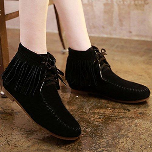 warm Boots Frestepvie Winter black Warm Shoes Ladies Tassel Women's Flat 4nR8nwa6q