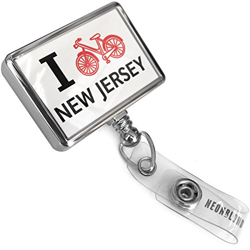 Retractable ID Badge Reel I Love Cycling State New Jersey with Bulldog Belt Clip On Holder (Bulldogs Cycling Jersey)