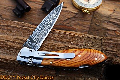 DKC Knives DKC-58-LJ-OW-DS-PC Little Jay Olive Wood Pocket Clip Damascus Steel Blade Folding Pocket Knife Olive Wood Handle 4