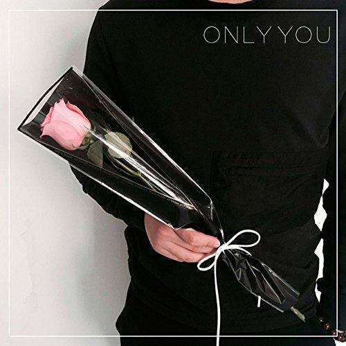 Flower Wrapping Paper Single Rose Packaging Bag 100 Pack Black Color (Black)