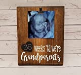 Pregnancy Countdown Chalkboard calendar with photo clip for ultrasound picture, weeks or days until we're new grandparents, announcement