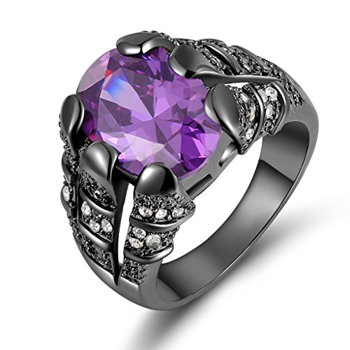 Amethyst Personalized Ring - Suohuan Hot Men 18K Oval Cut Purple Created Amethyst Sapphire Topaz Black Gold Plated CZ Ring Size 8 Best Valentine's Day Gift