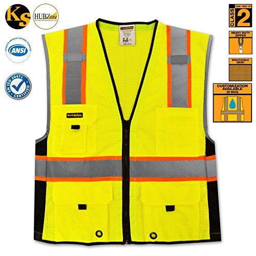 KwikSafety Class 2 Deluxe Safety Vest | Running Motorcycle Construction Traffic Emergency | Lightweight Reflective High Visibility with Multiple Pockets | Yellow 4XL/5XL