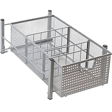 DecoBros Mesh Cabinet Basket Organizer, Silver (Medium - 9.4 x 15.3 x 5)