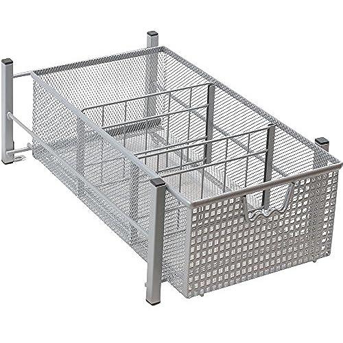 Superbe DecoBros Mesh Cabinet Basket Organizer, Silver