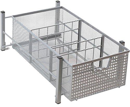 DecoBros Mesh Cabinet Basket Organizer, Silver (Medium - 9.4 x 15.3 x 5) (Kitchen Cabinet Storage Sliding compare prices)