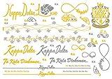 A-List Greek Metallic Temporary Tattoos - Kappa Delta Gold, Silver Sorority Symbols, Shell, Rose, Rings, Bracelets, Necklaces | Premium Body Jewelry 2 Sheets Tattoo Set