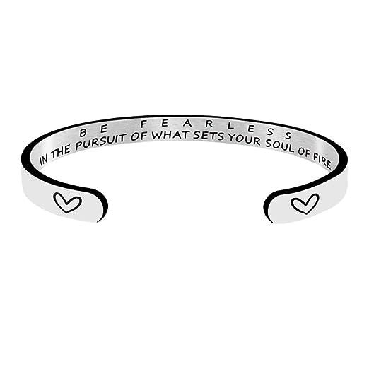 edb07bce45fa5 Amazon.com: Jvvsci Be Fearless Cuff Bracelet, Inspirational ...