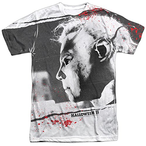 Halloween II Myers Mask Mens Sublimation Shirt White 2X -