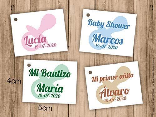 Etiqueta para detalle de Bautizo o Baby Shower. Pack 25 udes. Detalles de Bautizo. Tarjetas personalizadas. Etiquetas de papel.