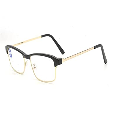 612441ec83 Meijunter Men Women Resin Eyebrow Metal Frame Reading glasses  Anti-radiation Anti-blue light Lens Reading Glasses 1.0  Amazon.co.uk   Clothing