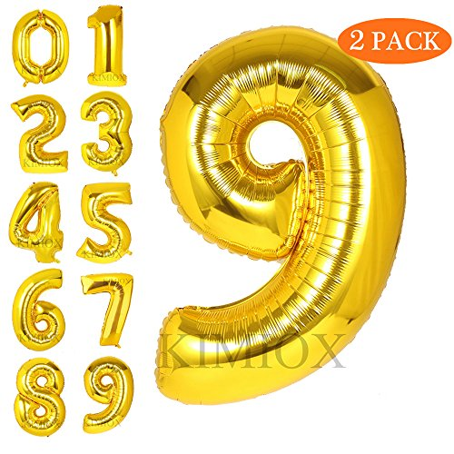 KIMIOX Number Balloons, 2 Pcs 40 Inch Birthday Number Balloon Party Decorations Supplies Helium Foil Mylar Digital Balloons (Gold Number 9)
