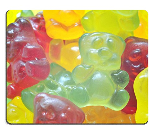 Price comparison product image Luxlady Gaming Mousepad IMAGE ID: 38575487 Macro detail of heap of colored gummy bears background
