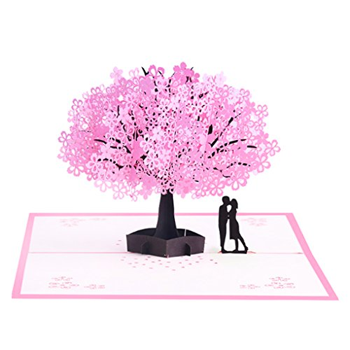 Card Blossom (Frontoper Handmade 3D Greeting Card Pop Up Card With Cherry Blossom And Sweet Couple for Valentine's Day, Wedding, Anniversary, Birthday Between Husband and Wife, Boyfriend and Girlfriend)
