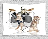 asddcdfdd Animal Decor Tapestry, Cool Fancy Hard Cute Rocker Band of Kittens with Singer Guitarist Cats Print, Wall Hanging for Bedroom Living Room Dorm, 80 W X 60 L Inches, Multicolor