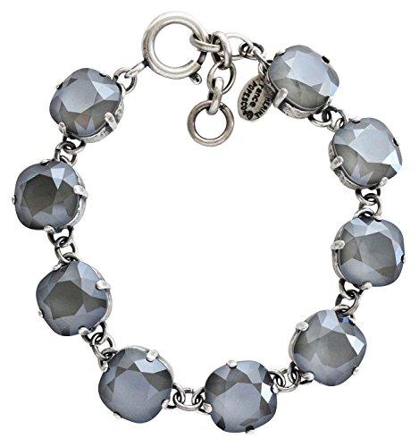 Catherine Popesco Silvertone Crystal Round Bracelet, 7