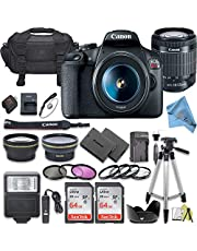 Canon EOS Rebel T7 DSLR Camera Bundle with Canon 18-55mm Lens + 2pc SanDisk 64GB Memory Cards + Accessory Kit (18-55MM + 64GB)