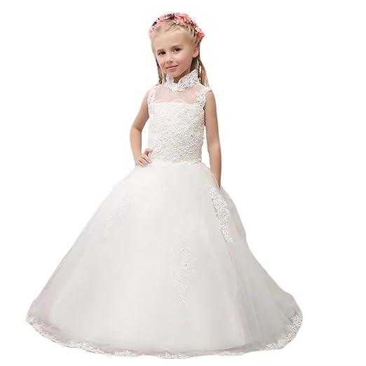 Amazon Com Angel Dress Shop White Lace A Line Communion Dresses For