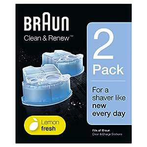 Braun Clean&Renew - Pack de 2 recambios de líquido limpiador para el sistema Clean & Renew - CCR2, estación de limpieza Clean&Charge
