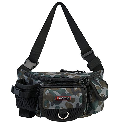 Piscifun Fishing Bag Portable Outdoor Fishing Tackle Bags Multiple Waist Bag Multi Functional Fanny Pack (Color Camouflage) -