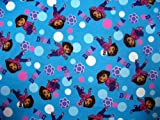SheetWorld Fitted Crib / Toddler Sheet - Dora Blue - Made In USA