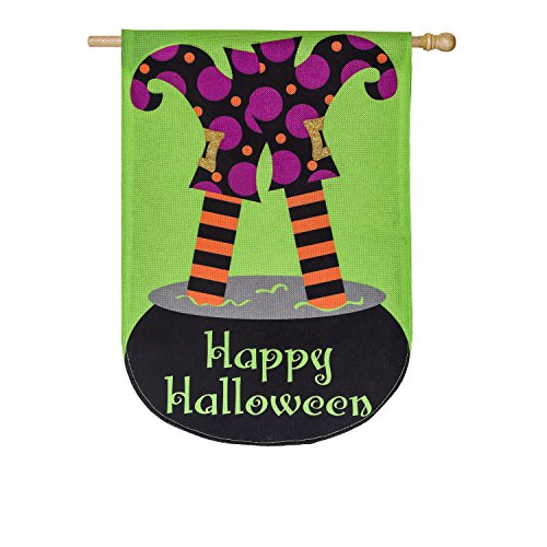 Evergreen Witchy Trouble Outdoor Safe Double-Sided Burlap House Flag, 28 x 44 (Standard House Flag)