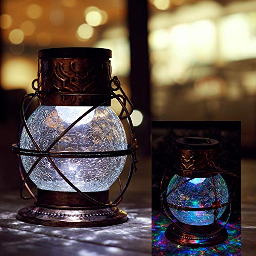 (Go2garden Solar-Powered Decorative Color Changing Rainbow Twinkling Crackle Glass Lantern Lights for Outdoor Garden Patio Path Way)