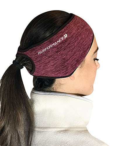 PAIRFORMANCE Women Ponytail Headband Fleece Colors Ear Wind Cold Protector (Wine)