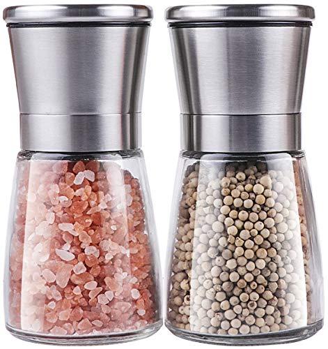 Salt and Pepper Grinder Set, Trofoty Stainless Steel Adjustable Ceramic Sea Salt Grinder & Pepper Mill Set, Glass Salt and Pepper Shakers Pepper Mill Salt Mill (Set of 2)