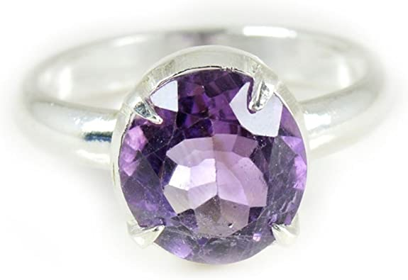 925 Sterling Silver Ring Birthday Gift for Her Natural Amethyst Ring Healing Gemstone Ring Oval Amethyst Checker Cut Ring February Birthstone Ring Handmade Mens Ring
