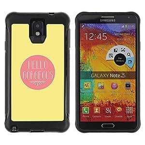 "Pulsar iFace Series Tpu silicona Carcasa Funda Case para SAMSUNG Galaxy Note 3 III / N9000 / N9005 , Hola Gorgeous Valentines Amante Amor Amarillo"""