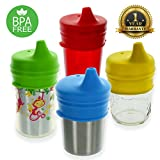 Healthy Sprouts Silicone Sippy Lids (4 Pack) - USA Safety Lab Tested - Make Any Cup a Sippy Cup (Red, Yellow, Green, Blue)
