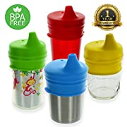 Healthy Sprouts Silicone Sippy Lids (4 Pack) – USA Safety Tested, Spill Proof, BPA Free, Universal Soft Spout Stretch Tops | Make Any Cup a Sippy Cup for Toddler, Baby, Infant (Red Yellow Green Blue)