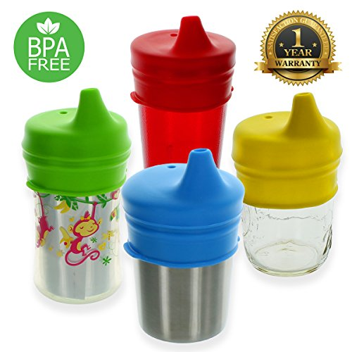 Healthy Sprouts Silicone Sippy Lids (4 Pack) - USA Safety