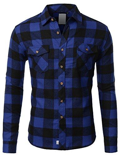J.TOMSON Mens Long Sleeve Checkered Button Down Flannel Shirt