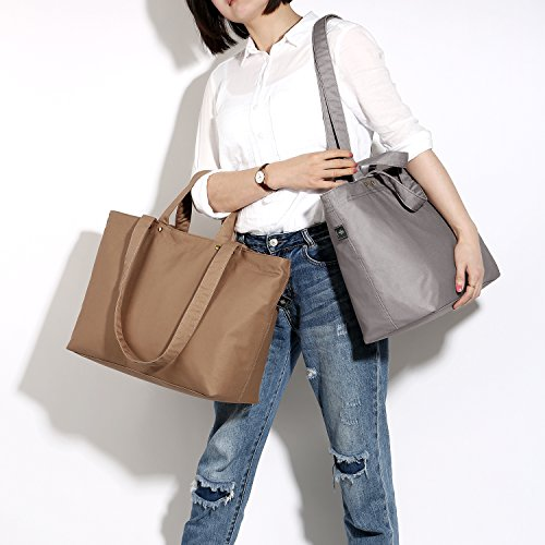 For School Grey Women Shopper Tote Travel Shoulder Large Canvas Handbag Work Bag Bonthee basic 84qSH