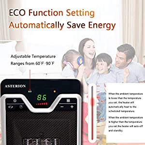 Ceramic Space Heater,ASTERION 1500W Portable Oscillating Electric Heater with Adjustable Thermostat Remote,Personal Office Heater with Timer Overheat Tip-over Small Safe Heater for Indoor Home Bedroom