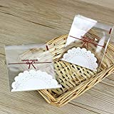 Aboonlys Handmade Cookie Bags 100 PCS,Lace Cute Bowknot Self Adhesive Plastic Candy Bags for Wedding Cookie Birthday Cake Pops Gift Candy Buffet Supplies, with Mysterious Gifts 2.75 x 2.75in