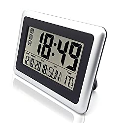MISUE Large Display Digital Wall Clock,Silent Desk Shelf Clocks Battery Operated Easy to Read Alarm Clock with Large LCD Display (Day Calendar Temperature) for Office Home Shower Black W/Silver