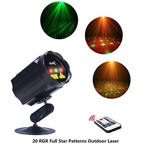 X'mas Outdoor Decoration RGR Laser Light Star Shower Motion Spotlights, IP65 Waterproof Laser Patterns Projector with RF Wireless Remote Decorate for House Garden Lawn Landscape Pool Trees (Ip65 Shower)