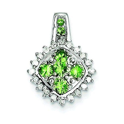 En argent sterling 925plaqué rhodium Diamant tsavorite Pendentif Carré