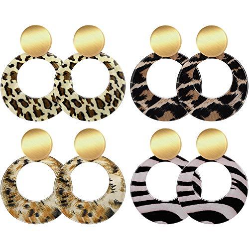 Boao 4 Pairs  Acrylic Drop Earrings Statement Resin Rounded Dangle Earrings Geometric Leopard Hoop Stud Earring for Women Girls ()