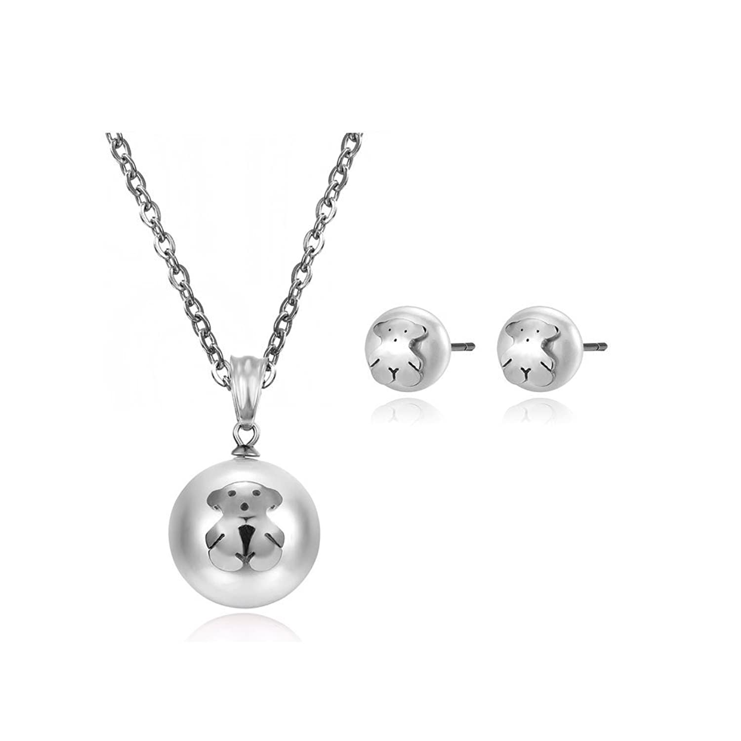 1 Set of Cream Pearl Bear Necklace Pendant and Stud Earrings with Stainless Steel Necklace Chain (Silver)