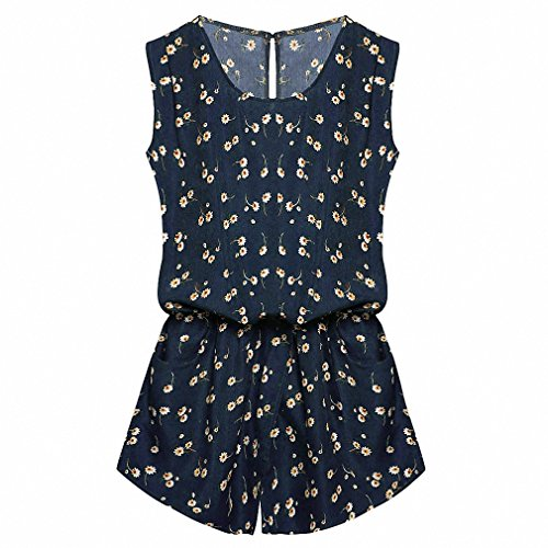 Prison Overalls Costume (Summer Jumpsuit New Women Playsuit Jumpsuit Casual Sexy Lady Sleeveless Backless Elastic Waist Print Mini Romper overall Navy Blue Print M)