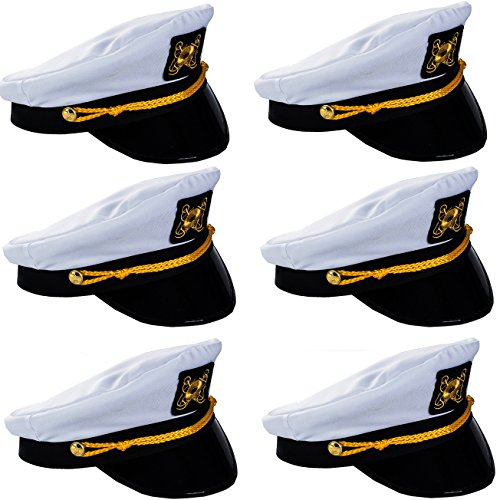 Funny Party Hats Yacht Captain Hat - 6 Pack - Sailor Hats - Navy Marine Hats - Skipper Hats - Nautical Party Hats -