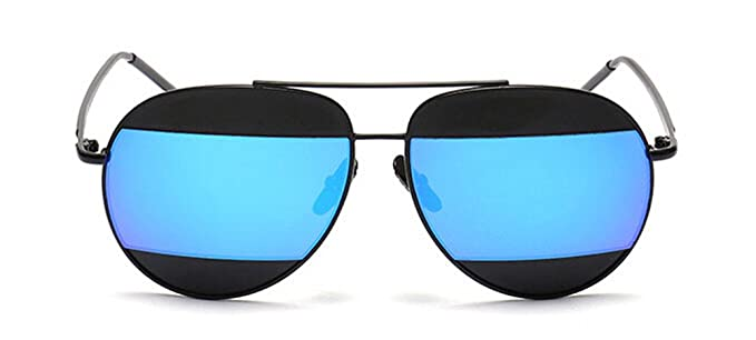 men aviator sunglasses c2cu  GAMT Double Color Aviator Sunglasses For Men Black Frame Blue Lens