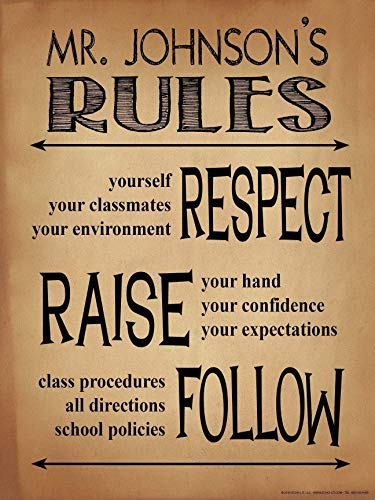 Classroom Rules Personalized Art Print. Customizable Poster For High School, Middle School or Elementary School Teachers (10 Classroom Rules For High School Students)