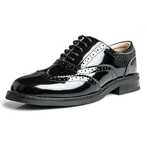 Zapatos Con Cordones Derby De Cuero Mujer Charol De Yorwor Zapatos Oxford Con Cordones Basse Brogue