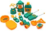 kids camp stove - Little Treasures Camp Set designed for 3+ kid camping toy set includes a lighting lantern, gas stove, two utility sets, pan with folding handle, pretend play watch, binoculars & more fun